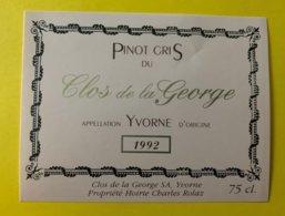 11725 - Pinot Gris Du Clos De La George 1992 Yvorne - Etiquetas