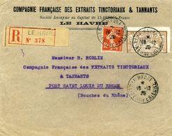 Lettre Recommandée Le Havre 1920 Avec Perforès CF 100 - Perfin
