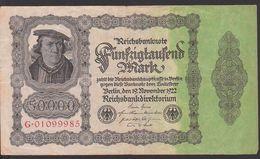 Deutsches Reich, Reichsbanknote 50.000 Mark, Ausgabe 19. November 1922, Serie G, Rosenberg 79 - [ 3] 1918-1933 : República De Weimar