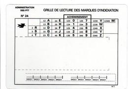 Grille De Lecture Des Marques D'indexation - Curieux Imprimé Plastique Transparent - 16,5 X 11,4 Cm - PTT N°24 - Marcofilia (sobres)