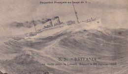 Paquebot Français Au Large De X. S.S. BRITANIA En Route Pour Le Levant. Départ Le 25 Janvier 1922. - Steamers