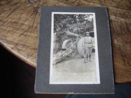 Militaire  Baionette Canon Sur Roue Cliche Photo - Personnes Anonymes