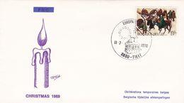 Enveloppe FDC 1969 Christmas Europa Tielt Oblitération Temporaire Belge - FDC