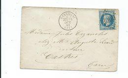 N° YT 29B Sur Lettre  De Réalmont Tarn Pour Castres 1869 - 1849-1876: Periodo Clásico