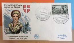 Rattachement De La Savoie à La France - Annecy- 12.6.1960 - FDC 1er Jour (Coté .. € Y&T) - FDC