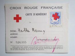 """Carte D'Adhérent """"Croix Rouge Française"""" Avec Vignette 1965, Cachet """"Croix Rouge, Comité De REMIREMONT (88)"""" - Commemorative Labels"""
