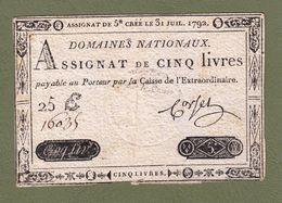 AUTHENTIQUE ASSIGNAT CORSEL DE 5£ CINQ LIVRES NUMÉROTATION AU DOS CRÉÉ LE 31 JUIL. 1792 TIMBRE SEC SÉRIE 25 E N° 16035 - Assignats & Mandats Territoriaux
