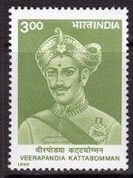 India 1999 Death Bicentenary Of Veerapandia Kattabomman, MNH, SG 1879 (D) - Neufs