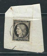 FRANCE N° 3  Obl. Petit C à D S/Frag. De Janvier 1849 TTB - 1849-1850 Cérès