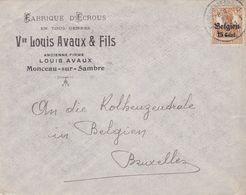Enveloppe OC15 Fabrique D'écrous Monceau-sur-Sambre Oblitération Marchienne-au-Pont - Guerre 14-18