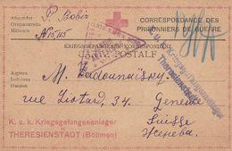 CARTE FM DE CORRESPONDANCE PRISONNIERS GUERRE THERESIENSTADT BOHMEN 1917 + CENSURE POUR GENEVE - Guerre De 1914-18