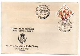 Carta Con Matasellos Commemorativo De Muerte De Jaime I - 1931-Hoy: 2ª República - ... Juan Carlos I