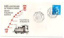 Carta Con Matasellos Commemorativo De Ferrocarril  Grao- Valencia Xativa. - 1931-Hoy: 2ª República - ... Juan Carlos I