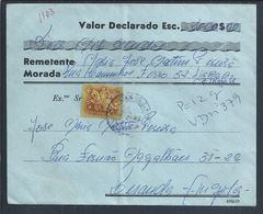 Rara Carta De Valor Declarado VD Circulada Lisboa/Luanda 1966. Guerra Colonial. Recibo Região Militar De Angola. 3sc. - Angola