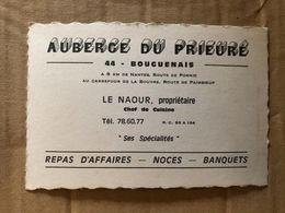 Bouguenais * Auberge Du Prieuré LE NAOUR Propriétaire , Route De Pornic * Carte De Visite Ancienne Illustrée - Bouguenais