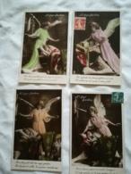 FANTAISIE Lot De 4 Cartes Serie L'ange Gardien -  Anges Angelot - - Fancy Cards