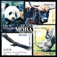 2009 France Yv# 4372/4375  **MNH  TTB Très Beau. Animaux Disparus Menacés (Yvert&Tellier)  Avion - Frankreich