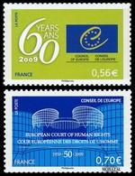 2009 France Yv# 142/143 Service  **MNH  TTB Très Beau. Conseil De L'Europe (Yvert&Tellier) - Mint/Hinged