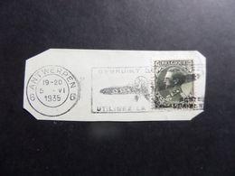 Fragment Enveloppe S.M.le Roi Léopold III, Flamme Gebruikt De Luchtpost - Utilisez La Poste Aérienne, Cachet Antwerpen - 1934-1935 Leopold III