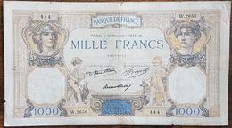 Très Beau Billet De 1000 Francs CÉRÈS Et MERCURE 19 Novembre 1936 FRANCE W.2656 444 - 1 000 F 1927-1940 ''Cérès E Mercure''