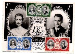 Monaco 19.04.1956 - Mariage Princier Rainier & Grace - Carte-maximum - Cartes-Maximum (CM)