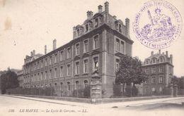 Cachet Hopital Temporaire N°8 Le Havre 3 Corps D'Armée Sur CP Le Havre Lycée De Garçons Vue Concordante - 1. Weltkrieg 1914-1918