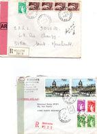 Reims Cérès 1978 & Vouziers 1980 - Lettre Recommandé Avec Griffe Et étiquette - Marcofilia (sobres)