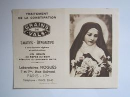 1940 PETIT CALENDRIER LABORATOIRES NOGUES GRAINS DE VALS LAXATIFS DEPURATIFS IMAGE RELIGIEUSE - Kalenders