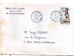 Ste Menehould An. Mob. 1 Marne 1989 - Lettre - Annexe Mobile - Poste Rurale Automobile - Marcophilie (Lettres)