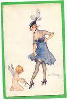 S. MEUNIER - Femme, Angelot à Ses Pieds De La Série Le Lacet De La Parisienne - Meunier, S.