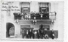 CARD PHOTO CARAGLIO NOZZE STUTZ-DEMARIA 1934 PARENTI SPOSI SU BALCONE DELL'ALBERGO (CUNEO)2 SCANNER-FP-V-2-0882-29482-81 - Cuneo