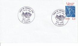 """1986 - Oblitération Temporaire """"TOUR DE FRANCE  7 Juillet 1986 - VILLE ETAPE - EVREUX"""" - Cachets Commémoratifs"""