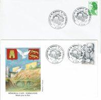 """1988 - Oblitération Temporaire """"INAUGURATION DU MEMORIAL POUR LA PAIX DE CAEN NORMANDIE"""" - 2 Enveloppes - Cachets Commémoratifs"""