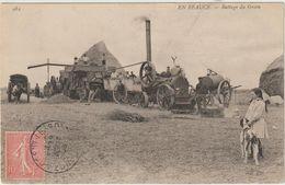 CPA    28  EN BEAUCE BATTAGE DU GRAIN   NOGENT LE ROI  27/08/1906 DEPART POUR PARIS - Nogent Le Roi