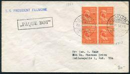 1952 USA Indonesia Jakarta S. S. PRESIDENT FILLMORE Paquebot Ship Cover. - Verenigde Staten