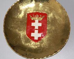 Sammelteller Aus Messing Wappen Ostpreussen Danzig 14 Cm Durchmesser Aus Einer Alten Manufactur In Danzig - Other Collections