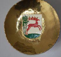 Sammelteller Aus Messing Wappen Ostpreussen Ortelsburg 14 Cm Durchmesser Aus Einer Alten Manufactur In Danzig - Other Collections