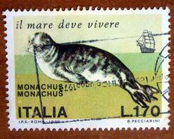 1976 ITALIA Animali Marini Foca Monaca Mediterranean Monk Seal (Monachus Monachus) - Lire 170 Usato - 6. 1946-.. Repubblica