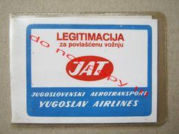 JAT-Yugoslav Airlines / Legitimation, Female Annual Ticket For Bus ( 1988 ) - Wochen- U. Monatsausweise