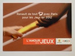 JEUX OLYMPIQUES - ATHLETISME / Passage Du Témoin - Course Relais - Carte Publicitaire RENAULT Pour PARIS 2012 - Atletismo