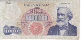 BILLETE DE ITALIA DE 1000 LIRAS DEL AÑO 1963 DE VERDI  (BANKNOTE) - 1000 Lire