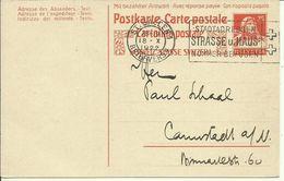 1922 Tell 25c Postkarte Mit Bezahlter Antwort  Frageteil Von St. Gallen Nach Cannstadt - Postwaardestukken