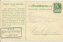 1923 Tell 10c Carte Postale Chemins De Fer Fédéraux  Cachet Malleray-Bévilard - Stamped Stationery
