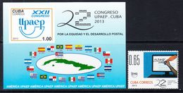 2013 Cuba Upaep Postal Services Flags Complete Set Of 1 + Souvenir Sheet  MNH - Cuba