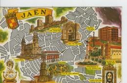 Postal 6651 : Plano Ciudad Y Monumentos De Jaen - Cartes Postales
