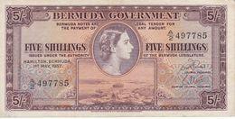 BILLETE DE BERMUDA DE 5 SHILLINGS DEL AÑO 1957  (BANKNOTE) - Bermudes