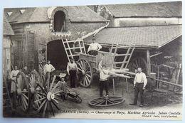 C. P. A. : 72 CHEMIRE EN CHARNIE : Charronage Et Forge, Machines Agricoles, JULIEN COUTELLE, Animé - Francia