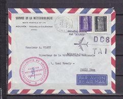 NOUVELLE CALEDONIE LETTRE A EN TETE DU SERVICE METEO  PAR AVION DC8 - Lettres & Documents