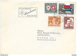 """54 - 84 - Enveloppe Avec Oblit Spéciale """"Fêtes Des Narcisses Montreux 1957"""" - Marcofilie"""