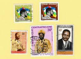 Centrafrique Lot De 5 Timbres Jean Bedel Bokassa - Repubblica Centroafricana